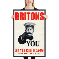 Britons Kitchener Wants You Join The Army Ww1 Propaganda Framed Print Poster