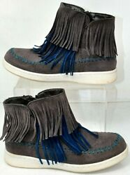 Muk Luks Womens Suede Ankle Boots Size 9 Fringe Gray And Blue