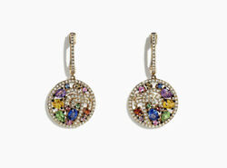1.30ct Natural Round Diamond 14k Yellow Gold Mixed Gemstoneand039s Dangler Earring
