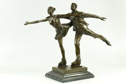 Signed Anniversary Ice Skating Couple Pair Bronze Sculpture Statue Figure Deal
