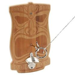 Bamboo Tiki Fack Hook And Ring Toss Game Set. Patio Game For Adults And Kids