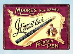 Moore's Non-leakable Fountain Pen Metal Tin Sign Bedroom Wall Decor