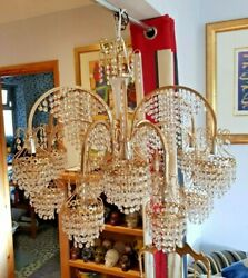 Vintage Gold Plated And Crystal Austrian Strauss Fountain Style Chandelier
