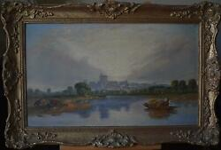 Reed Harvesting River Thames Windsor Attributd Alfred Vickers Oil Painting C1840