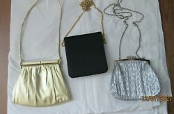 # LADIES PURSES LOT 3 evening GOLD SILVER BLACK $39.99