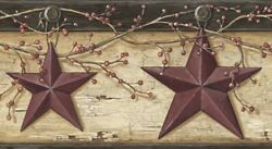 Rustic Barn Star Border PUR44603B wallpaper country red Easy Walls prepasted