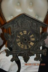 Antique Cuckoo Clock Cabinet Only For Parts Or Project