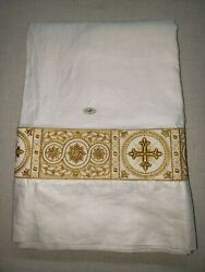 Vintage Alb Irish Linen Custom Embroidery Banding Orphrey Gold Lame Large 2