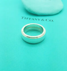And Co. Rare Silver Wide Metropolis Band Ring Size W1/2 Uk, 11.25us, 66eu