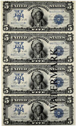 5 1899 Indian Silver Dollar Certificate Currency Sheet Reproduction