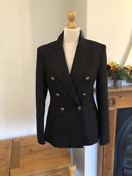 Zara Black Tailored Double Breasted Metal Buttoned Blazer Size S Uk10 G53s