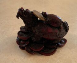Feng Shui Dragon Turtle Red Statue Fortune Chinese Mythical Stone Figurine