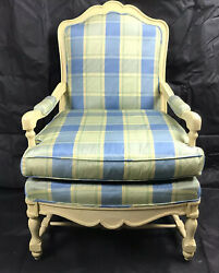 French Provincial Chair And Ottoman Set Upholstered In Brunschwig And Fils Fabric