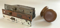 Vintage/antique Brass Hardware Lot Of 3 Mortise Door Locks Knobs Yale And Other
