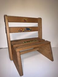 Vintage Childs Wooden Step Stool Chair Combo Children Kid Sit Stand Combination