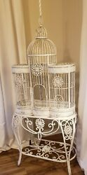 Antique Victorian Ornate Iron Bird Cage W Stand Metal Chic Rustic 72 French