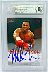 Mike Tyson Signed Leaf Trading Card Semt2 Le 5 Red Beckett Bas Authentic