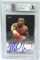 Mike Tyson Signed Leaf Trading Card Semt2 Le 10 Purple Beckett Bas Authentic