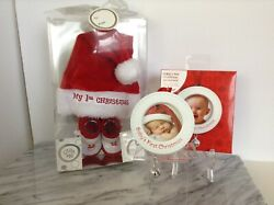 Infants My First Christmas Hat Bootie Set With Babyand039s 1st Xmas Photo Ornament