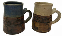 2007 Stoneware Pottery Mugs Deer Aztec Native American Print Marked Rt Cups