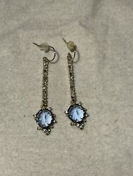 New Alexis Bittar Blue Crystal Encrusted Linear Drop Earrings Authentic 175