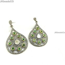 Pave Diamond Earrings Emerald And Polki 50x30mm - 925 Sterling Silver Jewelry