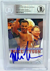 Mike Tyson Signed Leaf Trading Card Semt4 Le 5 Red Beckett Bas Authentic