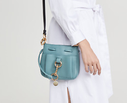 See By Chloe Tony Small Bucket Leather Drawstring Shoulder Bag in Mineral Blue. $250.00