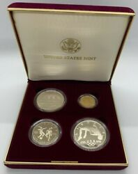 1996 Us Mint 4 Coin Proof Set Atlanta Olympic Games Gold And Silver W/ Cauldron