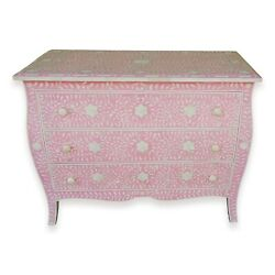 Curved French Provincial Style Bone Inlay Dresser Chest Of Drawers In Pink 42