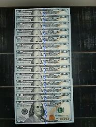 14 One Hundred Dollar Bills New 100 Us Currency - Sequential Notes