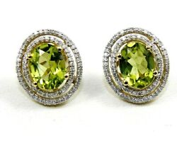 Natural Oval Green Peridot And Diamond Halo Stud Earrings 14k Yellow Gold 4.36ct