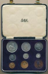 1956 South Africa 9 Coin Proof Set In Sam Box-all Original Scarce Item Free Sh