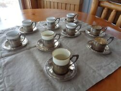 Antique German 800 Silver Moka Cup Holders 9 Saucers 9 Porcelain Cups 7