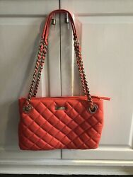 Kate Spade Gold Coast Maryanne Coral Quilted Leather Bag Large Gold Chain Straps