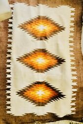"""Navajo Native American Indian Wool Rug Rare 1950s Size 42"""" By 64"""" 🇺🇸⭐️🔥"""
