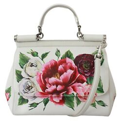Dolce And Gabbana Bag Sicily White Leather Floral Roses Purse Borse Rrp 2600