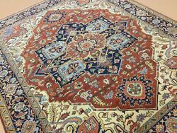 8andrsquo X 10andrsquo Rust Navy Blue Fine Geometric Hand Knotted Oriental Rug Traditional