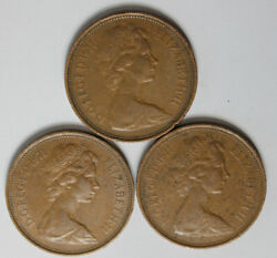 1971 New 2 Pence British Bronze Collectible Coins-lot Of 3 Coins-- 6.00 Each