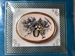 Rare Vintage New Barlow Picture Perfect Hand-painted Oval Pin Brooch Marked Usa