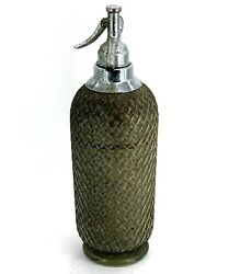 Collectible Antique Vary Rare Soda Syphon Metal Covering Vintage Glass Bottle.