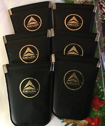 Lot Of 6 Vintage 1980's Delta Airlines Black Keychain Pouch