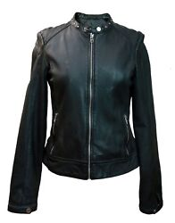 Slim Fit Black Leather Jacket For Women With Silver Rings On Snap Tap Collar