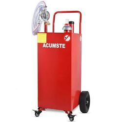 30 Gallon 8ft Hose Gas Fuel Diesel Caddy Transfer Tank Container W/ Rotary Pump