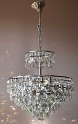 Silver Antique French Vintage Crystal Chandelier Home Decor Empire Ceiling Light