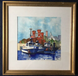 Perry Stirling Asma_orig Water Color_signed/dated Lr_impressionist_ships Free