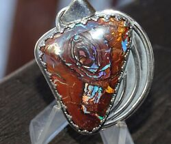 Handmade Boulder Opal Pendant Multiple Flashes Of Colors And Patterns..handmade