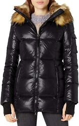 S13 Womens Faux Fur Gramercy Midlength Down Puffer Coat