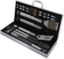 Barbecue Bbq Grill Tools Set Grilling Cooking Accessories Stainless Steel 16 Pcs