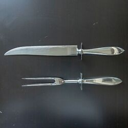 Vintage Carving Knife And Fork Set Sterling Handles And Stainless Blades